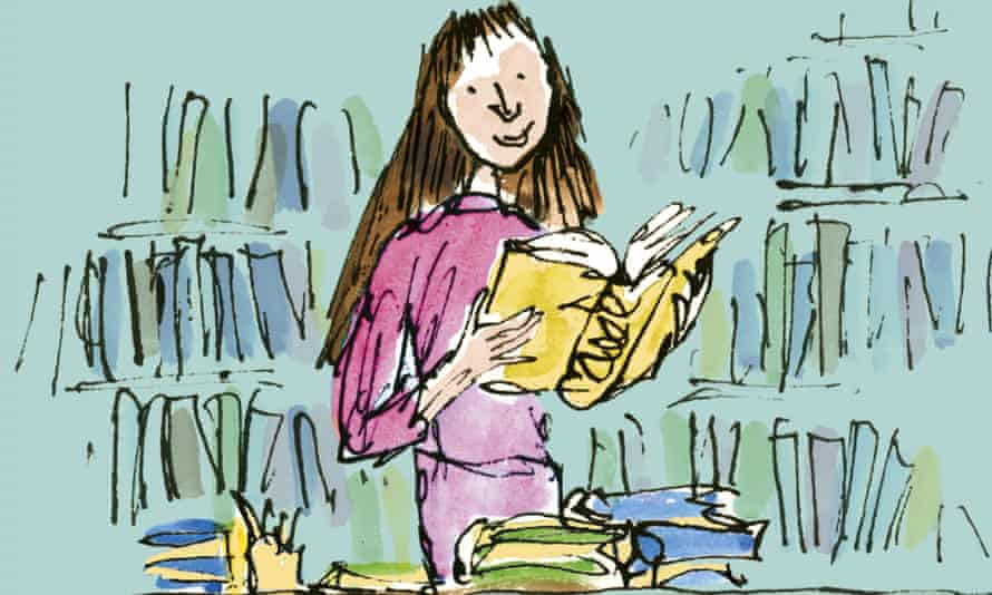 Matilda at the British Library in one of Quentin Blake's new sketches