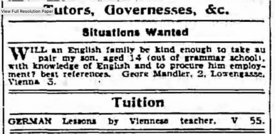 Small ad in 1938 seeking to place George Mandler with a British family