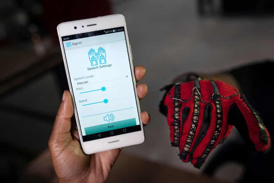 The Sign-IO app, which vocalises letters signed by the person wearing the gloves.