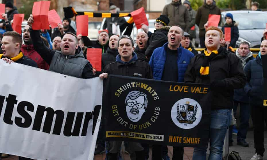 Port Vale supporters protest against the owner, Norman Smurthwaite, last Saturday.
