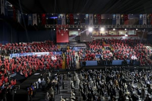 People gather for the 1st Ordinary Congress of the new Democracy and Progress party held at Ataturk sports hall.
