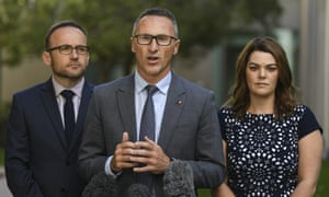 The Greens' Adam Bandt, Richard Di Natale and Sarah Hanson-Young. The party is willing to horse-trade on environment policy if Labor wins the election