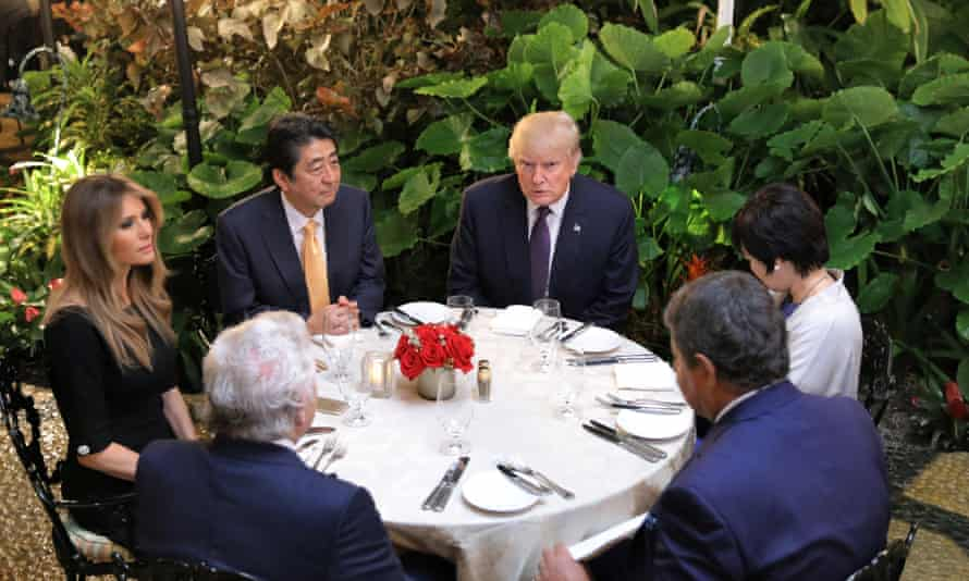 Shinzō Abe and Donald Trump with their wives and others at Mar-a-Lago in Palm Beach, Florida, on Saturday night.