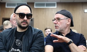 Serebrennikov with Alexei Malobrodsky, former director of the Gogol Center theatre, during a court hearing in Moscow in September.