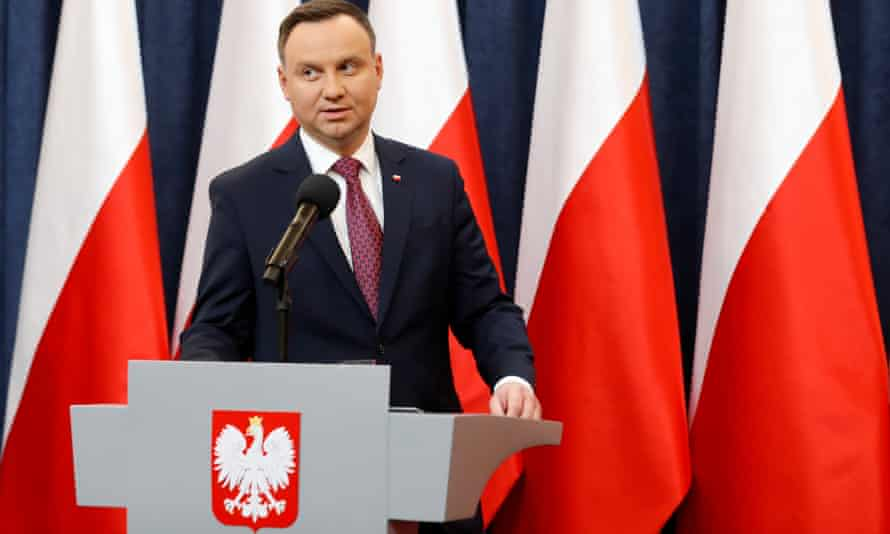 Poland's president, Andrzej Duda, at a news conference in Warsaw after the European commission activated its 'article 7' admonishment procedure