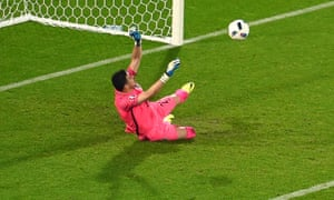 Croatia's goalkeeper Danijel Subasic saves a penalty against Spain, but had advanced from his goalline