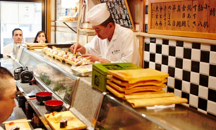 Okame sushi restaurant next to Tsukiji market.