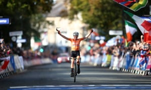 Netherland's Annemiek van Vleuten celebrates winning the Women's Elite Road Race from Bradford to Harrogate.