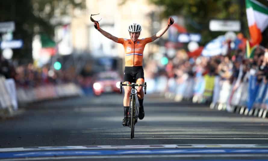Annemiek van Vleuten celebrates as she crosses the line in Harrogate.
