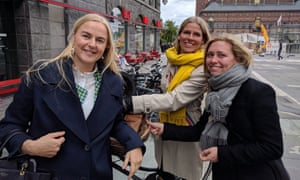 Charlotte Mathiesen, middle – with Julie Nygård, right, and Rikke kvist Wulff – is in the minority of Danish women who consider themselves a feminist.