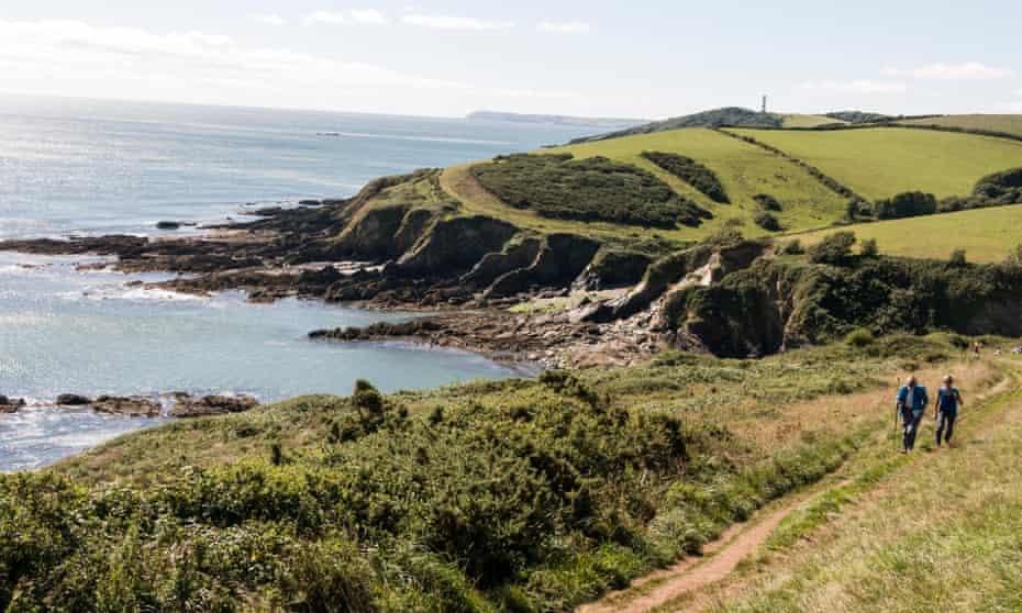 Coastal footpath at Fowey, south Cornwall.