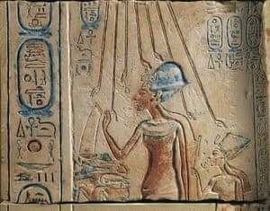 Egypt, Tell el-Amarna, Bas-relief depicting Amenhotep IV (Pharaoh Akhenaten, circa 1360 - 1342) and his wife Nefertiti (circa 1370-1330 BC) worshiping the solar disc Aten, eighteenth dynasty, New Kingdom