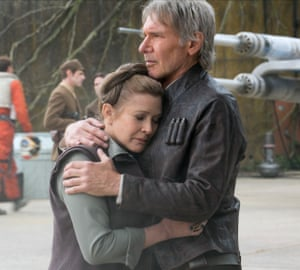 Fisher with Harrison Ford in Star Wars: Episode VII – The Force Awakens.