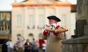 Pictured last year, Ripon hornblower Jim Vauvert blows the city's charter horn.
