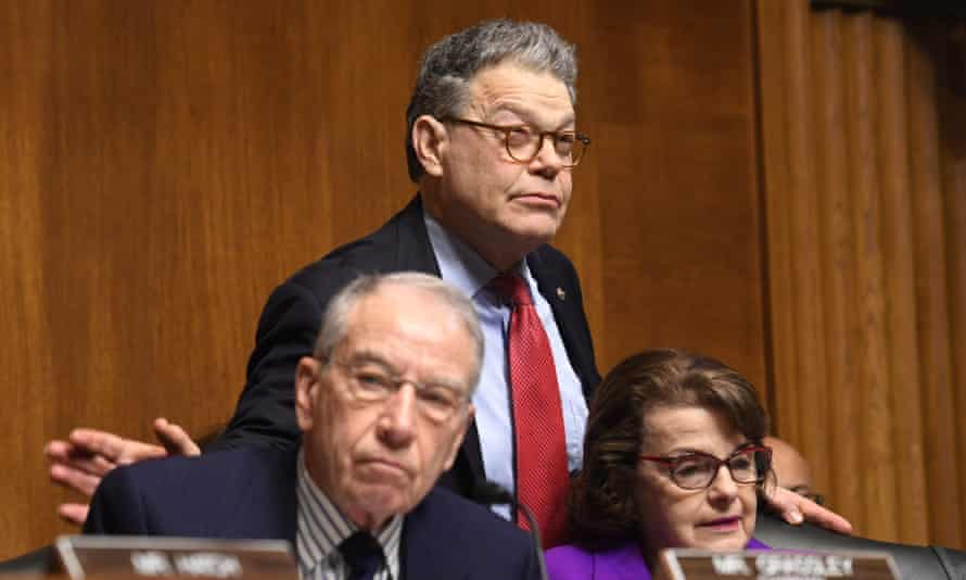 Left to right, senators Chuck Grassley, Al Franken and Dianne Feinstein are seen during the Senate judiciary committee confirmation hearing of Rod Rosenstein deputy attorney general.
