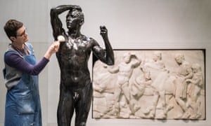 Blockbuster encounter … a conservator from the British Museum dusts Auguste Rodin's The Age of Bronze (1877).
