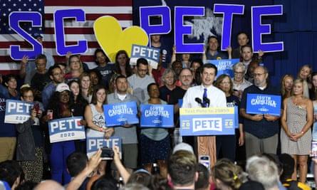Pete Buttigieg holds a town hall in North Charleston, South Carolina.