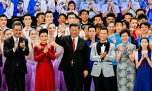 Xi Jinping at a variety show to celebrate the handover anniversary.