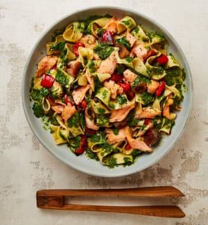 Yotam Ottolenghi's confit salmon pasta with cardamom and lime.