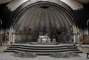 The altar of a damaged church in the town of Qaraqosh, Iraq.