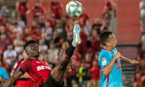 Mallorca's Ghanaian midfielder Iddrisu Baba in action against Eibar, has travelled through the leagues back to the top tier with the club.