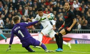 Real Madrid's Casemiro opens the scoring.