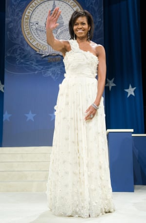 Obama in a girlish, bridal Jason Wu gown at the first inaugural ball in 2009.