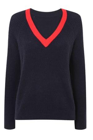 Navy and red V neck jumper