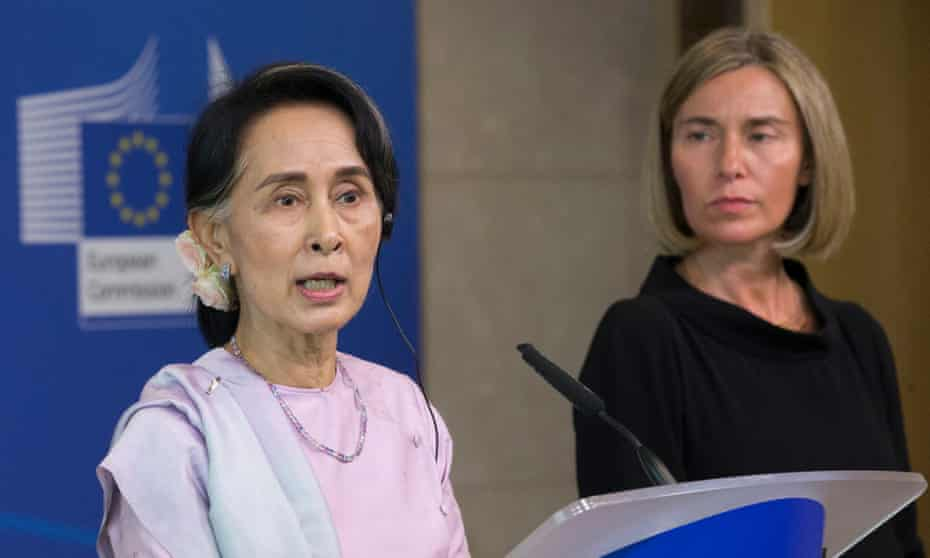 Aung San Suu Kyi and EU diplomatic chief Federica Mogherini at a press conference in Brussels.