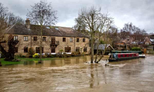 The River Nene overflowed at Thrapston, Northamptonshire.