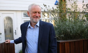 Labour leader Jeremy Corbyn leaves his home in north London.