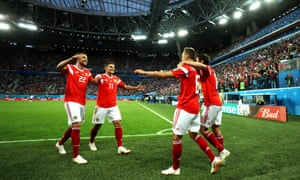 Denis Cheryshev takes the acclaim from his team-mates after scoring Russia's second goal in the 3-1 victory over Egypt in St Petersburg.