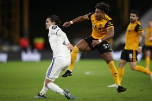 Wolverhampton's Adama Traore fires a shot which goes in off the back of Leeds keeper Illan Meslier.