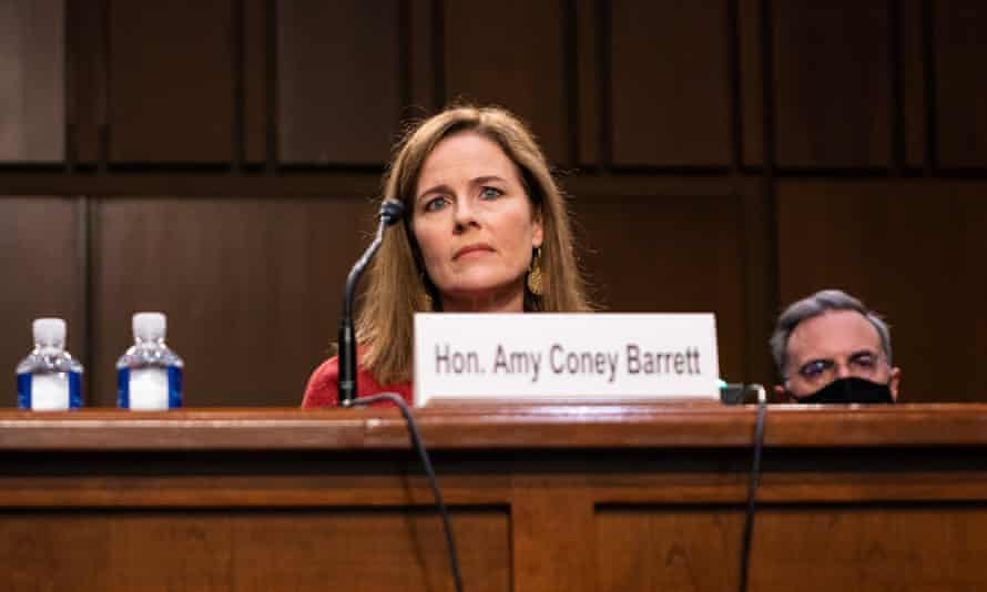 Supreme court nominee Judge Amy Coney Barrett testifies during the Senate judiciary committee hearing on Tuesday.