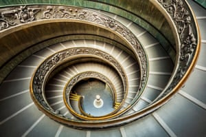 Spiral Staircase designed by Giuseppe Momo in 1932 is a double helix staircase Vatican Museum Vatican City Rome Italy EU Europe
