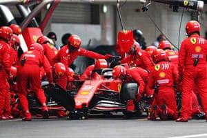 Sebastian Vettel in the pits.