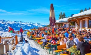 Crowded terrace at Zell am See, Austra.