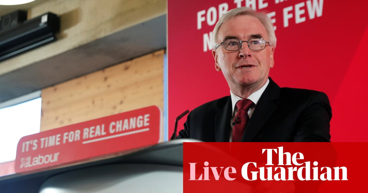 General election: John McDonnell outlines first 100 days of Labour government – live news
