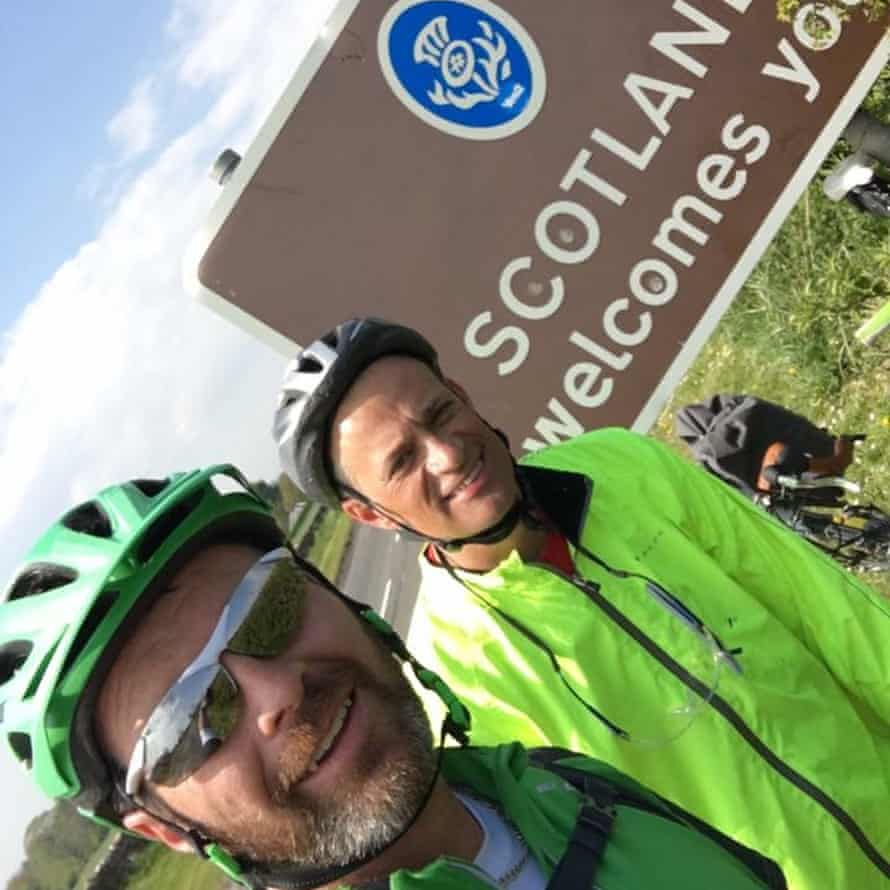 Steve, on the right, and mate Dave cross the border into Scotland.