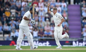 Sam Curran celebrates after dismissing India captain Virat Kohli.