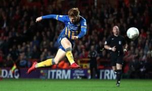 Jon Nolan scores the goal for Shrewsbury at Charlton in the first leg of their semi-final play-off on Thursday night.