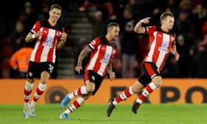 James Ward-Prowse celebrates after putting Southampton in front.