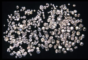 Assorted cut and polished diamonds.
