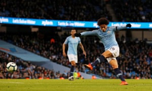 Manchester City's Leroy Sane scores their second goal.