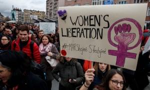 Kosovars march to mark International Women's Day in Pristina.