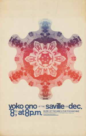 """Tony Cox, Yoko Ono at the Saville, 1967'This Tony Cox poster advertises Yoko Ono's Music of the Mind and the Fog Machine at the Saville Theatre in the West End, advising potential punters to """"be sure to bring a mirror with you!"""" The concert included a projection of her film Bottoms (Film no. 4) in the men's room during her performance'"""