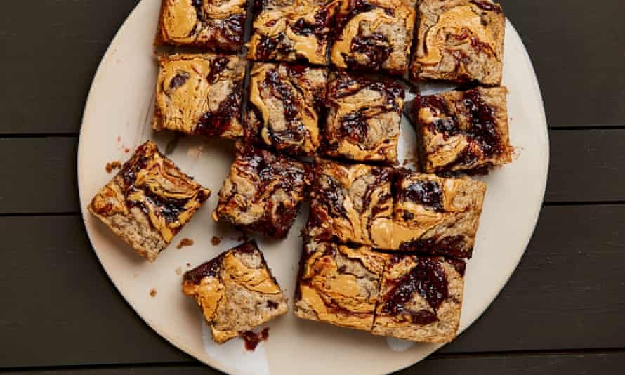 Meera Sodha's blondies with peanut butter, jam and chocolate.