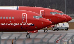 Parked Boeing 737-800 aircraft belonging to budget carrier Norwegian Airlines