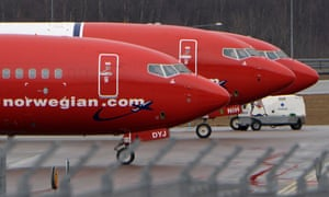 Norwegian planes on the runway in Stockholm