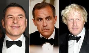 David Walliams, Mark Carney and Boris Johnson